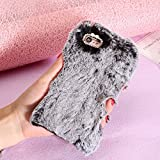 SevenPanda iPhone 5S / iPhone SE / iPhone 5 Cover Lovely Elegante Coniglio Custodia in Silicone Rabbit Bunny Case Soffici Villi Eco-pelliccia Peluche Lana Diamante Bling Strass Carino Clear Trasparente Soft Morbido TPU Bumper Shockproof Back Protector Caso - Nero immagine