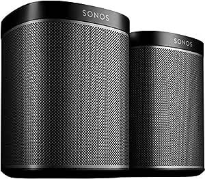 Sonos Play:1 Smart Speaker (Doppelpack Starterset, Kompakter und kraftvoller WLAN Lautsprecher für unbegrenztes Musikstreaming - Feuchtigkeitsbeständiger Multiroom Lautsprecher) schwarz