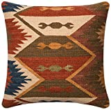 """Loloi Accent Pillow DSETP0390RUBRPIL1 Rust/Brown 18"""" x 18"""" Wool 