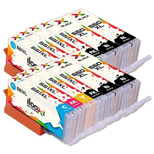 12x Druckerpatronen kompatibel für Canon PGI 550 XL 550XL BK CLI 551 551XL für Pixma IP7250 IP8750 IX6850 MG6450 MG7550 MX920 MX925 MX-925 IP-8750 IX-6850 MG-6450 Multipack Drucker Tintenpatronen