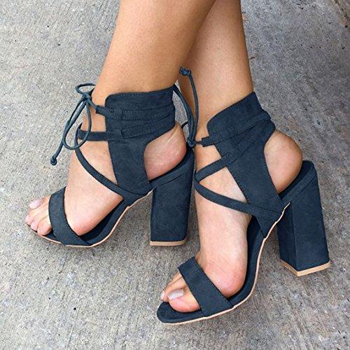 Talloni di massima sandali in camoscio sandali robusti Spesso cinghie incrociate Navy Blue