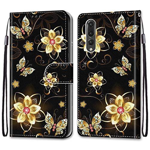 Nadoli Bunt Leder Hülle für Huawei P20 Pro,Cool Lustig Tier Blumen Schmetterling Entwurf Magnetverschluss Lanyard Flip Cover Brieftasche Schutzhülle mit Kartenfächern