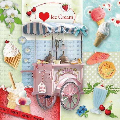 4Papier Servietten für Decoupage–3-lagig, 33x 33cm–I love Ice Cream (Ice Cream-servietten)
