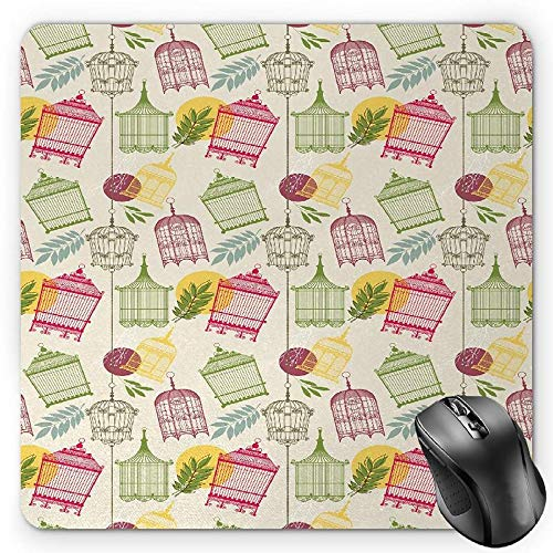 BGLKCS Vintage Mauspads Mouse Pad, Pattern with Victorian Style Birdcages and Leaves Old Times Pets Animals Romantic, Standard Size Rectangle Non-Slip Rubber Mousepad, Multicolor