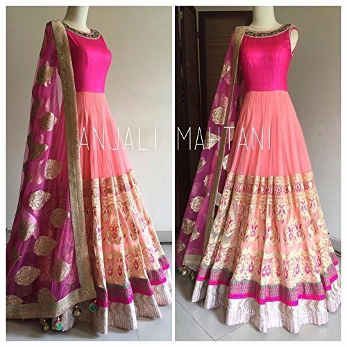 Aika Georgette Fabric Embroidered Dress Material For Women (Pink_Peach)