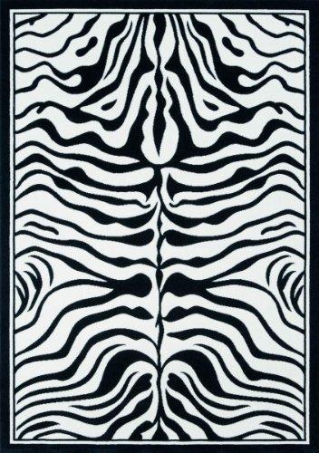 Lalee  347077953  Moderner Designer Teppich / Muster : Zebra Fell Optik / Schwarz Weiss / Grösse: 160 x 230 cm