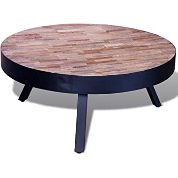 5c6d89dbbe0d4d vidaXL Coffee Table Round Reclaimed Teak with 3 Metal Legs Hand-made Home  Furniture