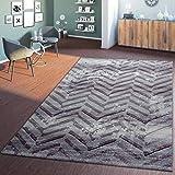 T&T Design Moderner Wohnzimmer Teppich Hochwertig 3D Zick Zack Vintage Lila Creme Grau, Größe:120x170 cm