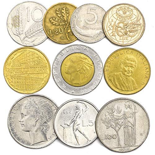 10 misto italia italiano monete lira lire repubblica italiana 1946-2001 pre-euro monete. per la vostra moneta bancaria, portaoggetti monete o album di moneta