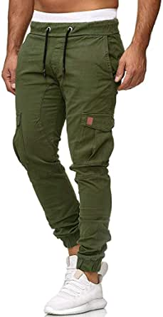 Camo Cargo Pants Mens Skinny Stretch Elasticated Waist Trousers Multical Pocket Gym Sweatpants Bodybuilding Workout Goosun Slim fit Chino Jogger Trousers Plus Size M-4XL