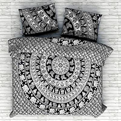 HANDICRAFTOFPINKCITY Double Size Handmade mandala Duvet Cover Throw Indian Cotton Quilt Cover Reversible Bedding Doona Blanket Cover Set With Pillow