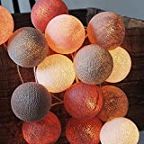 CHAINUPON 20 Cotton Ball String Fairy LED Lights Kid Bedroom,Home,Decor,Boys Girls Battery Operated Lights (20 Lights, Old Rose Gray)
