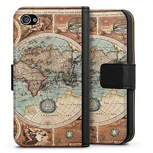 Apple iPhone 6 Hülle Case Handyhülle Vintage Weltkarte Karte Map Sideflip Tasche schwarz