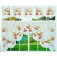Gardinenbox antipinchazos AUX de 2piezas 80y 30x 150cm Bistro cortina diseño cerezas cortina