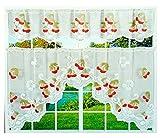 Ilkadim 2 Teilige Küchengardine weiß, Bistrogardine Dekor, Scheibengardine in Den Maßen 35cm x 150cm (Oben), 65cm x 150cm (Unten) (weiß Rot Kirschen)