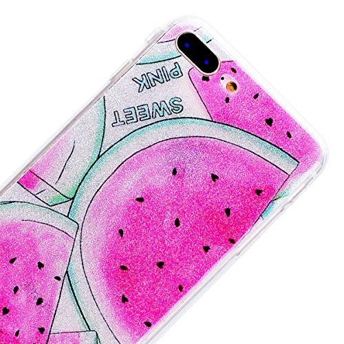 """WE LOVE CASE iPhone 8 Plus Hülle Glitzern Transparent Durchsichtig Farbe iPhone 8 Plus 5,5"""" Hülle Silikon Weich Diamond Handyhülle Tasche für Mädchen Elegant Backcover , Soft TPU Flexibel Case Handyco Watermelon"""