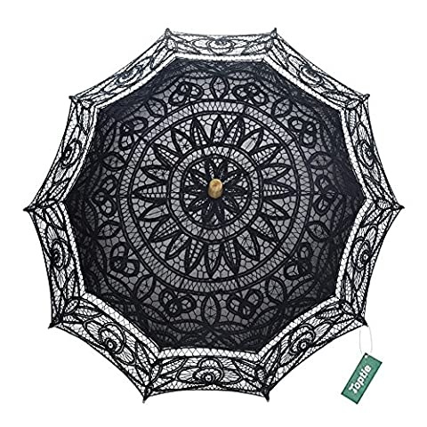 TopTie Embroidered Lace Umbrella Vintage Parasol For Wedding Party