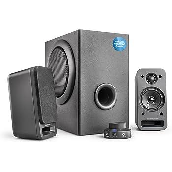 wavemaster MX3+ BT 2.1 Lautsprecher System (50 Watt) mit Bluetooth-Streaming Aktiv-Boxen für TV/Tablet/Smartphone/PC Schwarz (66506)