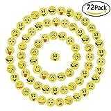 Willingood 72 x Emoji Smiley Radiergummi Set für Kinder | Mitgebsel | Kindergeburstagen | Gastgeschenke als Geburtstagsgeschenk und bunte lustige Radiergummi,Smiley Spielzeug und verschiedene motive