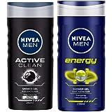 NIVEA Men Shower Gel, Active Clean Body Wash, Men, 250ml And NIVEA Men Shower Gel, Energy Body Wash, 250ml