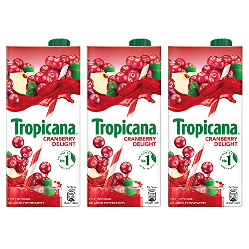 Tropicana Cranberry Delight Fruit Juice, 1L (Pack of 3)