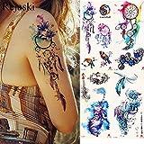 Acquerello Dream Catcher Adesivi tatuaggio temporaneo Donne Corpo Braccio Arte Pittura Flash Tatto Ragazza Vita Piuma Tatuaggio finto Tribale