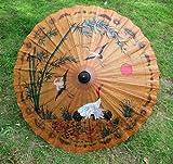 """A mano Pintado Tailandés Periódicos/ Madera Parasol 35"""" Diámetro Vacaciones Verano Disfraz"""