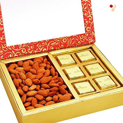 Ghasitaram Gifts Bhaidooj Gifts Dryfruits Hamper - Pink 2 Part Almonds and Chocolate Box  available at amazon for Rs.653