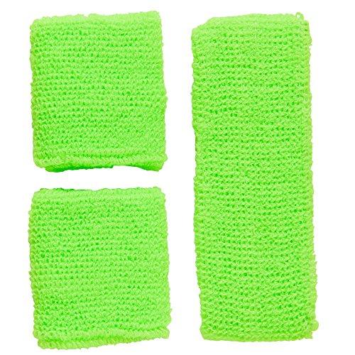 Widmann 05833 - Schweißbänder, Stirnband und 2 Armbänder, One Size, neongrünen