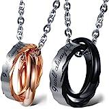 Cupimatch, coppia di collane da uomo e da donna in acciaio inox con anelli intrecciati, incisione (personalizzabile), con col