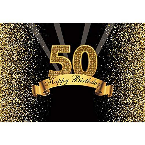 Cassisy 3x2m Vinyl Foto Hintergrund 50 Alles Gute zum Geburtstag Golden Glitter Pailletten Strahlen Schwarze Wand Fotografie Hintergrund für Photo Booth Party Kinder Fotostudio Requisiten - Kinder-goldenen Geburtstag
