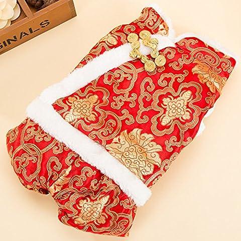 YU-K Cani abbigliamento abbigliamento piccolo cane mezzo abbigliamento abbigliamento cane cane grande abbigliamento , dinastia Tang rosso (MANICHE CORTE) SERIE L (torace48cm)