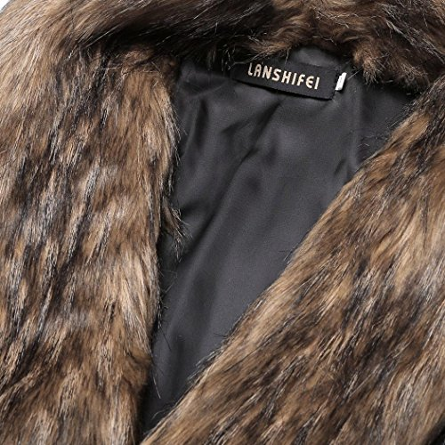 cooshional La Noble Dame Gilet col fourrure Faux sans manches Patchwork En Cuir Synthétique Veste Manteau Cardigan Femmes Camel