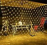 LNYF-OV Malla Cortina De Luz,Luces Netas Luces De Hadas Luces De Navidad Cortina Red Led Batería Batería Cadena, Decoración De La Boda De Navidad, Blanco Cálido, 6 * 4 M