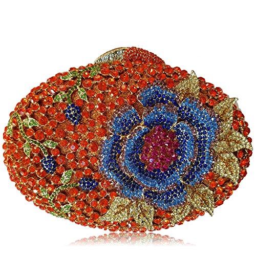 Donne Borse sera di lusso fiore Strass Portafogli donna bellezza preferito borsetta party di nozze portamonete frizione telaio metallico H