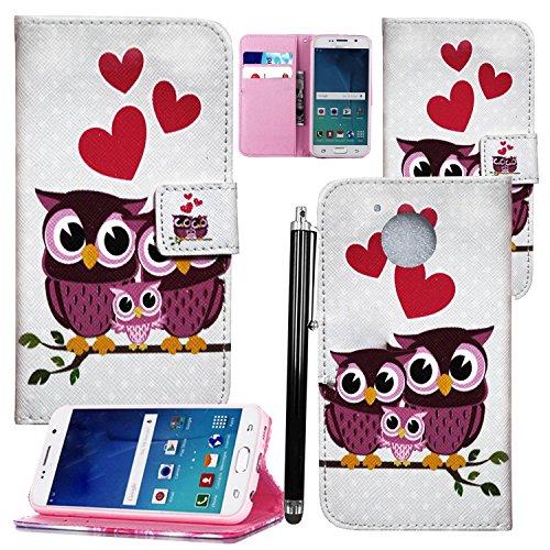 Hülle für Motorola Moto C Plus - Mobile Stuff Wallet Case Handy Schutzhülle Kunstleder - Handycover Klapphülle mit Kartenfach und Ständer (Family Owl Book)