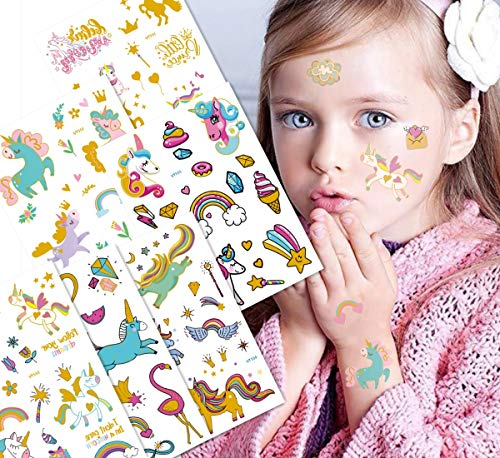 Unicorn temporary tattoos non-toxic tattoo stickers animal hot stamping tattoos children's party waterproof decoration 12 sheets