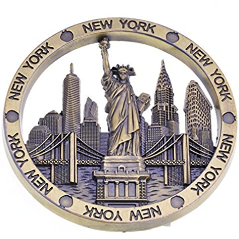 Bronze Color Circle New York Souvenir Metal Fridge Magnet NYC Statue of Liberty Brooklyn Bridge NY Chrysler Building Flatiron Metal Magnet by