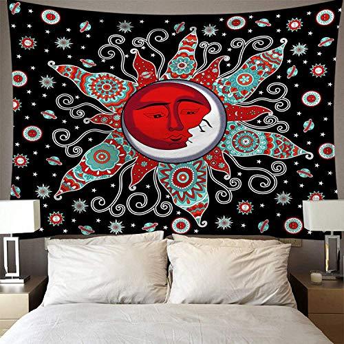 Arazzo da parete, vintage hippie tappezzeria da parete rosso floreale il sole e la luna in argento, rettangolare grande tessuto poliestere art decor per soggiorno camera da letto,200×150cm