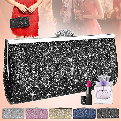 5401630f4c Wocharm Fashion Womens Glitter Clutch Bag Sparkly Silver Gold Black Evening  Bridal Prom Party Handbag Purse - Buy Online in KSA. Apparel products in  Saudi ...