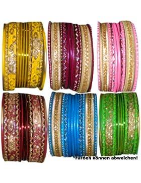 Bollywood Armreifen 72 Bangles 6 Farben 6 Sets zu je 12 Armreifen 6,5 cm Durchmesser
