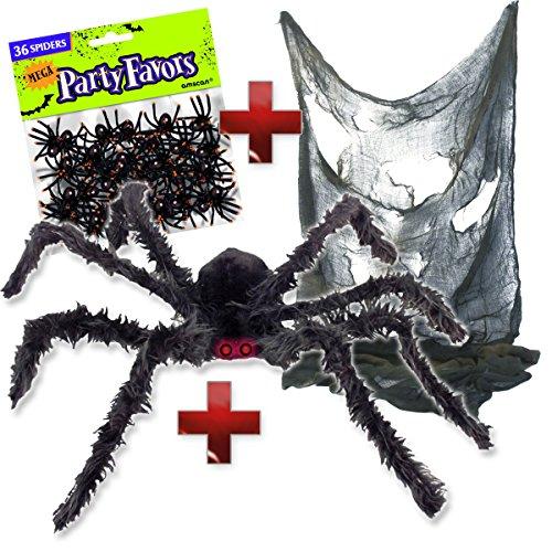 XXL Spinnen Deko Set - schwarze Riesenspinne mit rot blinkenden LED Augen (102cm) + 36 kleine Gruselspinnen + zerfetzte Grusel-Tuch 76x183cm - Halloween