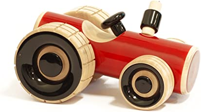 Maya Organic handcrafted Wooden Push Toy - Trako Tractor (Red)