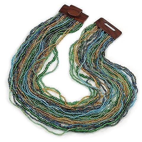 Collier à rangs multiples avec perles en verre bleu clair/doré/verre et fermoir carré en bois - 64cm - L