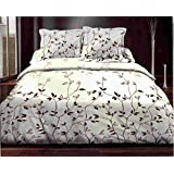 Juego de toallas 160x 200cm + 2funda de almohadas follaje Choco–Juego de sábana, 160x 200cm + 2funda de almohada juego de cama