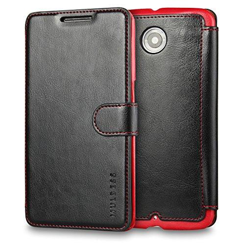 Mulbess Nexus 6 hülle Schwarz,Ledertasche für Motorola Google Nexus 6 Tasche Leder