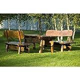 Timberline Sitzgruppe Rustikal 150 cm Outdoor Gartenmöbel, Farbe:dunkel geölt;Material:Birke
