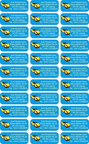 INDIGOS UG® Namensaufkleber Sticker - 56x23 mm - personalisiert - 007 - hot rod Auto - 99 Stück für Kinder, Schule und Kindergarten - Stifte, Federmappe, Lineale - individueller Aufdruck -