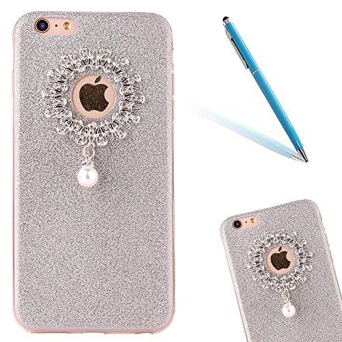 "iPhone 5s Handyhülle, iPhone SE Tasche, CLTPY Elegante Sparkly Series Slim Fit Silikon Cover, Kreativ Bling Diamant Bowknot Design Abdeckung für 4.0"" Apple iPhone 5/5s/SE + 1 x Stift - Grün 1 Silber 2"
