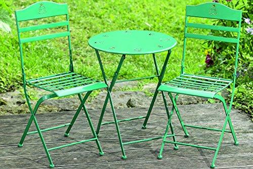 Tischset Limbo Eisen grün ein Tisch + zwei Stühle Kindertischset Gartenmöbel für Kinder Balkon Terrasse (Eisen Platte Natürlichem Aus)